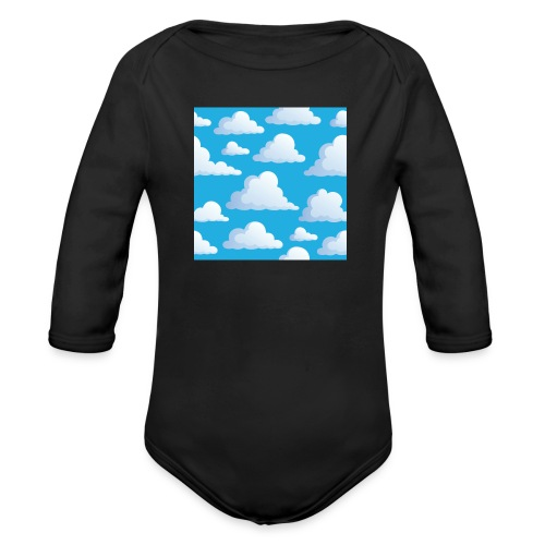 Cartoon_Clouds - Organic Longsleeve Baby Bodysuit