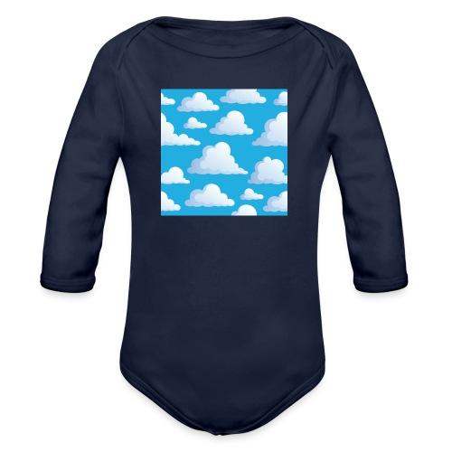 Cartoon_Clouds - Organic Longsleeve Baby Bodysuit