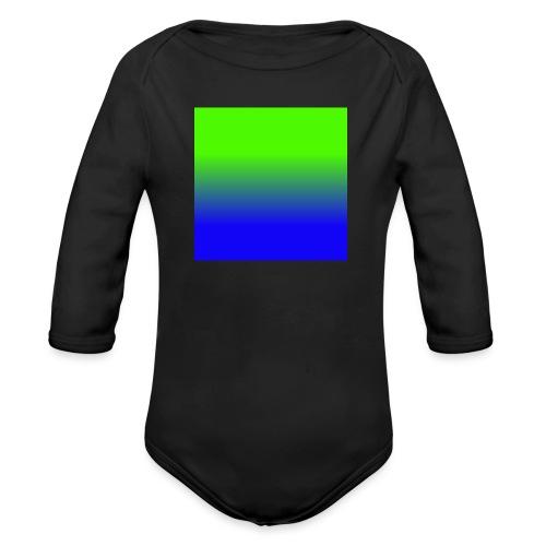 Linear pattern of green and blue - Organic Longsleeve Baby Bodysuit
