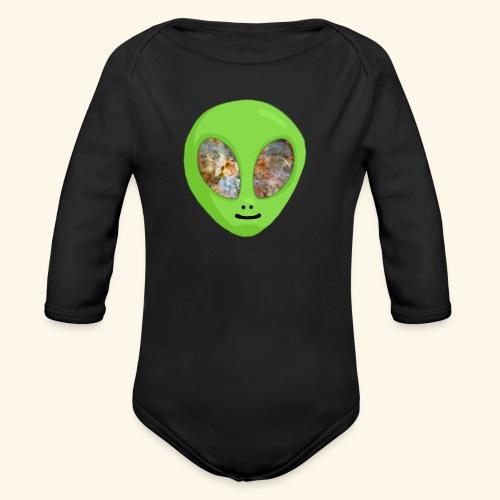 Alien hoofd 1 - Baby bio-rompertje met lange mouwen