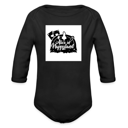 Alice in Nappyland TypographyWhite with background - Organic Longsleeve Baby Bodysuit