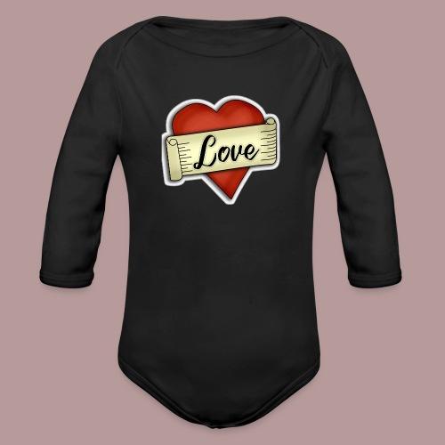 Love cœur tatouage - Body Bébé bio manches longues