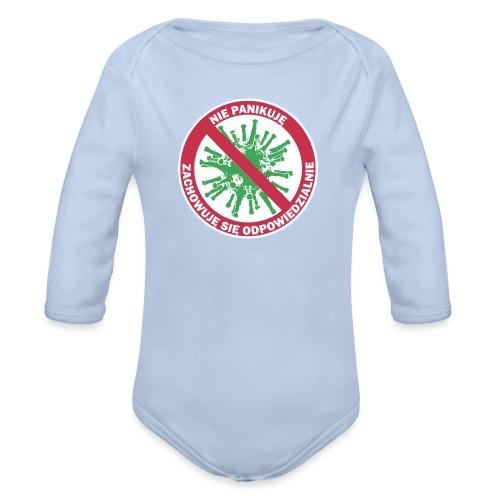 nie panikuje corona-virus - Ekologiczne body niemowlęce z długim rękawem