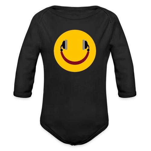 Smiling headphone - Langærmet babybody, økologisk bomuld
