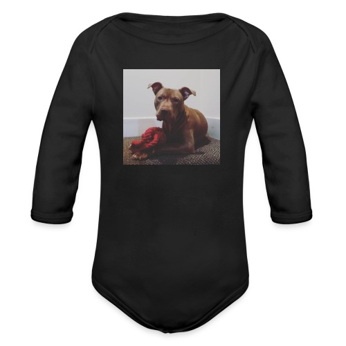 Hank with chew toy ❤️ - Organic Longsleeve Baby Bodysuit