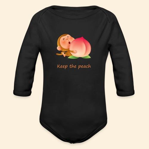 Monkey Keep the peach - Body Bébé bio manches longues