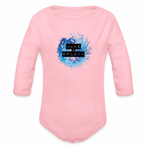 Make a Splash - Aquarell Design in Blau - Baby Bio-Langarm-Body