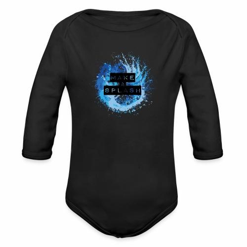 Make a Splash - Aquarell Design in Blau - Baby Bio-Langarm-Body