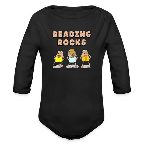 Reading Rocks Funny Book Lovers - Organic Longsleeve Baby Bodysuit