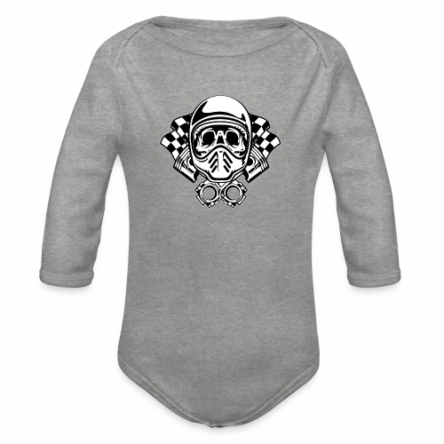 Racing Skull Helmet - Organic Longsleeve Baby Bodysuit