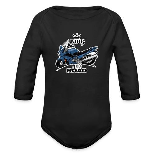 0885 FJR KING of the ROAD (blauw) - Baby bio-rompertje met lange mouwen