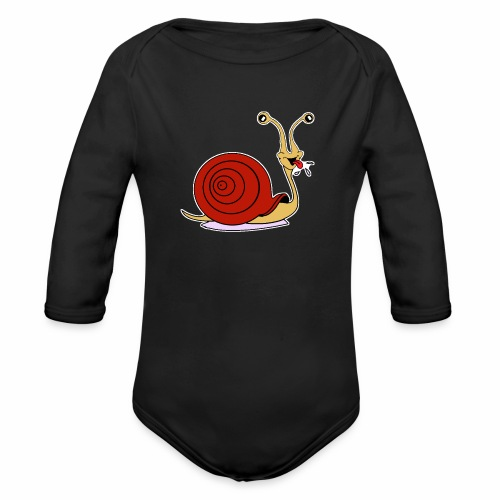 Escargot rigolo red version - Body Bébé bio manches longues
