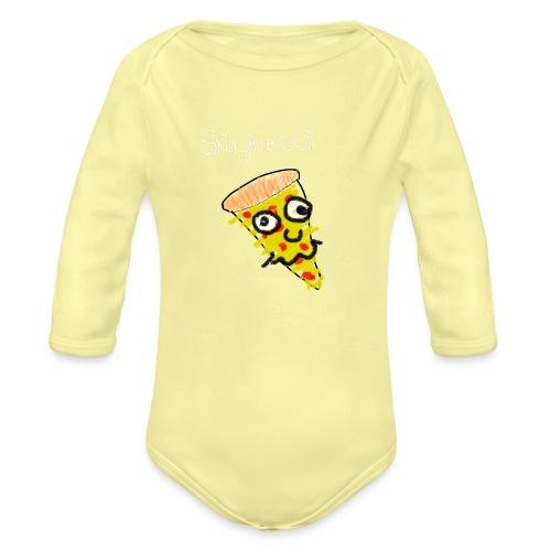 spaghetti (witte tekst) - Baby bio-rompertje met lange mouwen