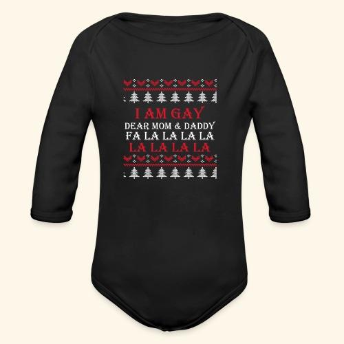 Gay Christmas sweater - Ekologiczne body niemowlęce z długim rękawem