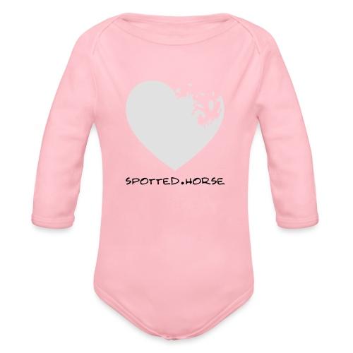 Cuore Appaloosa (bianco/rosso) - Body ecologico per neonato a manica lunga