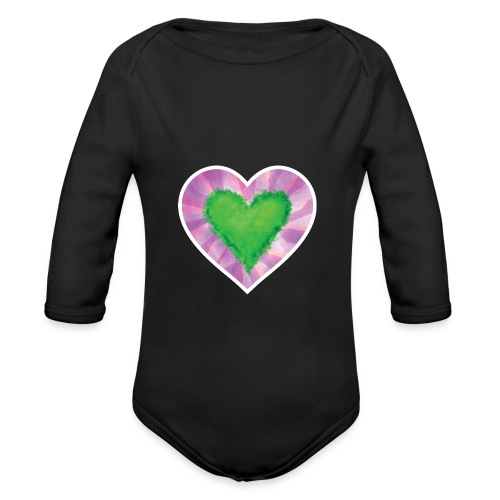 Green Heart - Organic Longsleeve Baby Bodysuit