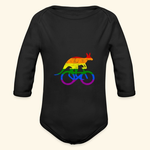 Radfahrer Känguru lustiges Fahrrad Regenbogenfahne - Baby Bio-Langarm-Body