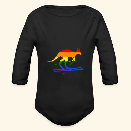 Skifahrer Känguru Ski Wintersport Regenbogenfahne - Baby Bio-Langarm-Body