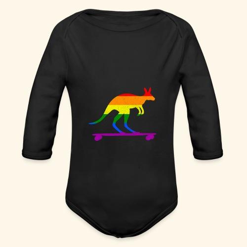 Skater Känguru Longboard Skateboard Regenbogenfahn - Baby Bio-Langarm-Body