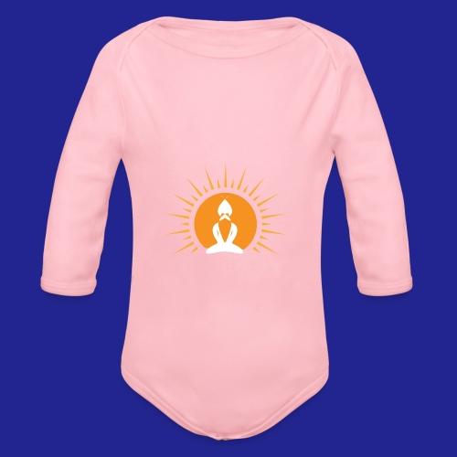 Guramylyfe logo white no text - Organic Longsleeve Baby Bodysuit