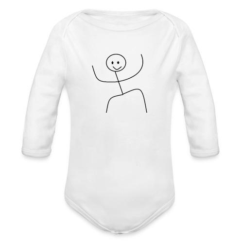 lady t-shirt stick man - Langærmet babybody, økologisk bomuld