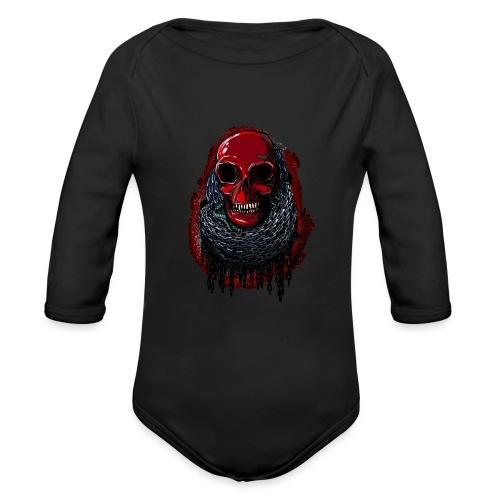 Red Skull in Chains - Organic Longsleeve Baby Bodysuit
