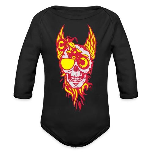 tete mort moto skull aile flamme fire - Body Bébé bio manches longues