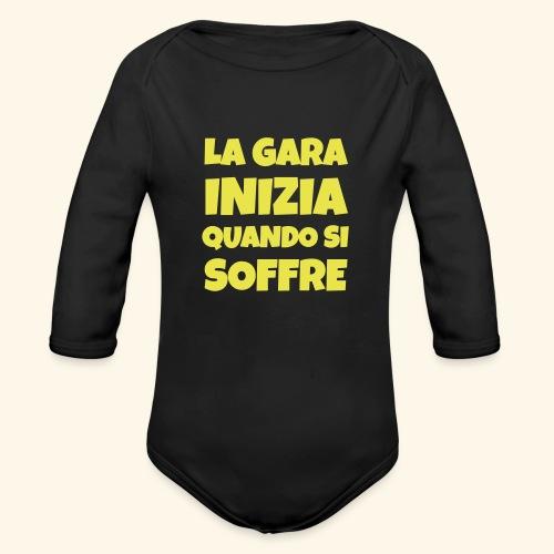 Frase Ironica - La Gara Inizia - FLAT - Body ecologico per neonato a manica lunga