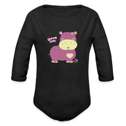 hippo baby girl - Body orgánico de manga larga para bebé