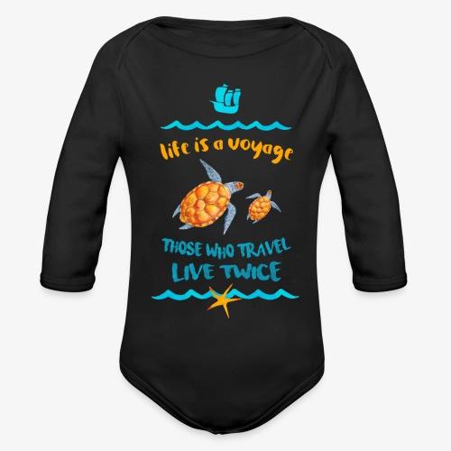 life is a travel - Ekologiczne body niemowlęce z długim rękawem