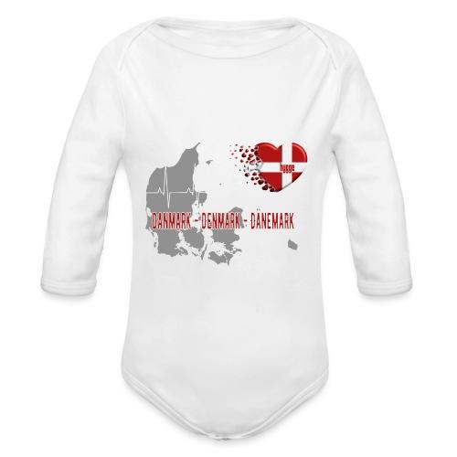 Dänemark Denmark Danmark Hygge Herzschlag EKG - Baby Bio-Langarm-Body