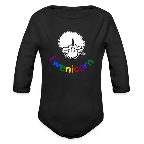 Ewenicorn (black edition rainbow text) - Organic Longsleeve Baby Bodysuit