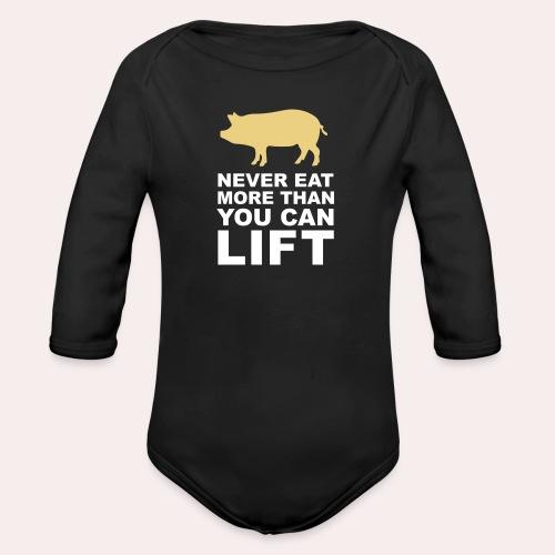 Nunca comas más de lo que puedas levantar - Body orgánico de manga larga para bebé