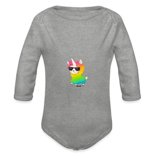 Regenboog animo - Baby bio-rompertje met lange mouwen