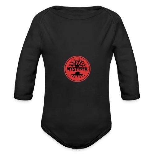 sort logo på rød baggrund med rød ring - Langærmet babybody, økologisk bomuld