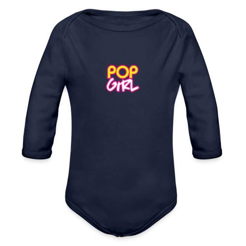Pop Girl logo - Organic Longsleeve Baby Bodysuit
