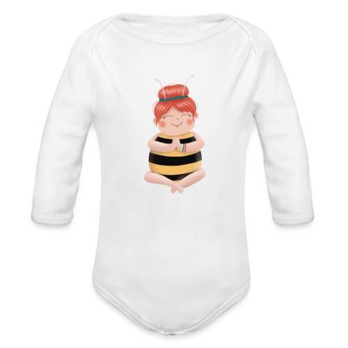 Biene am Meditieren - Baby Bio-Langarm-Body