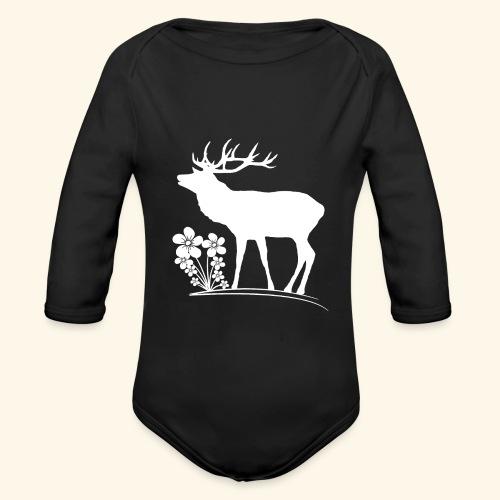 wilder Hirsch mit Blumen, Tiere, Reh, Hirsche - Baby Bio-Langarm-Body