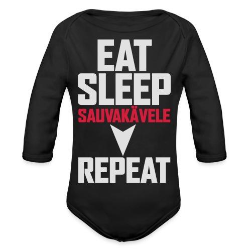 Eat, sleep, sauvakävele, repeat - Vauvan pitkähihainen luomu-body