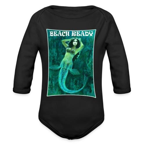Vintage Pin-up Beach Ready Mermaid - Organic Longsleeve Baby Bodysuit