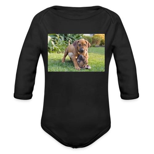 adorable puppies - Organic Longsleeve Baby Bodysuit
