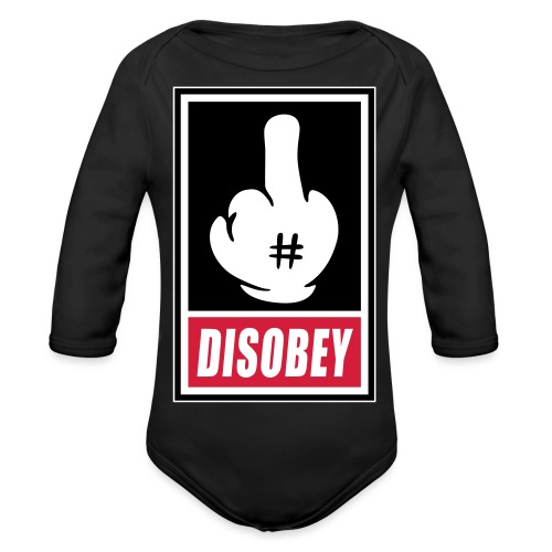 Fck Disobey vector 3 colors - Body Bébé bio manches longues