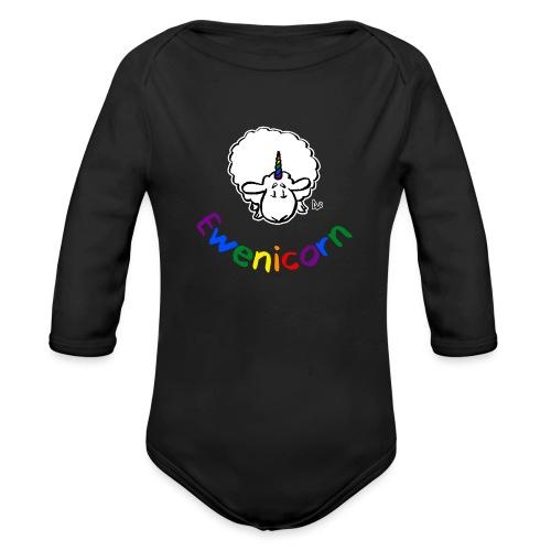 Ewenicorn (schwarze Ausgabe Regenbogentext) - Baby Bio-Langarm-Body