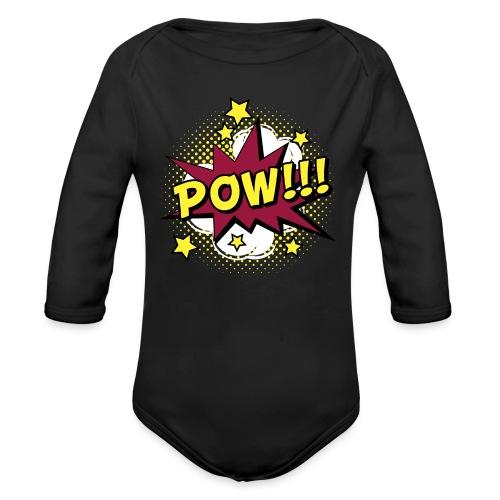 Comic Pow Sterne schwanger Geschenk Babybauch - Baby Bio-Langarm-Body