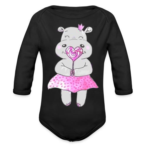 Happy Hippo - Baby Bio-Langarm-Body