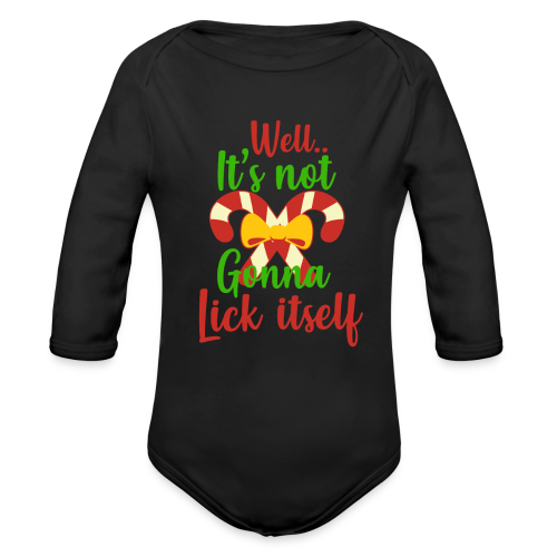 Weihnachten   lecken Zuckerstange Masche xmas - Baby Bio-Langarm-Body