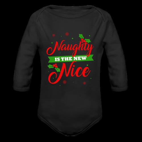 Weihnachten   unartig artig nett - Baby Bio-Langarm-Body