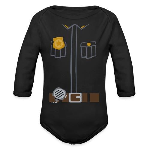 Police Costume Black - Organic Longsleeve Baby Bodysuit