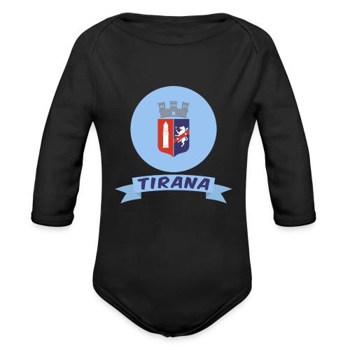flag of Tirana Albania t-shirt design gift idea - Body ecologico per neonato a manica lunga