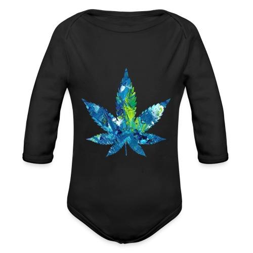 Artful cannabis leaf in acrylic paint - Organic Longsleeve Baby Bodysuit